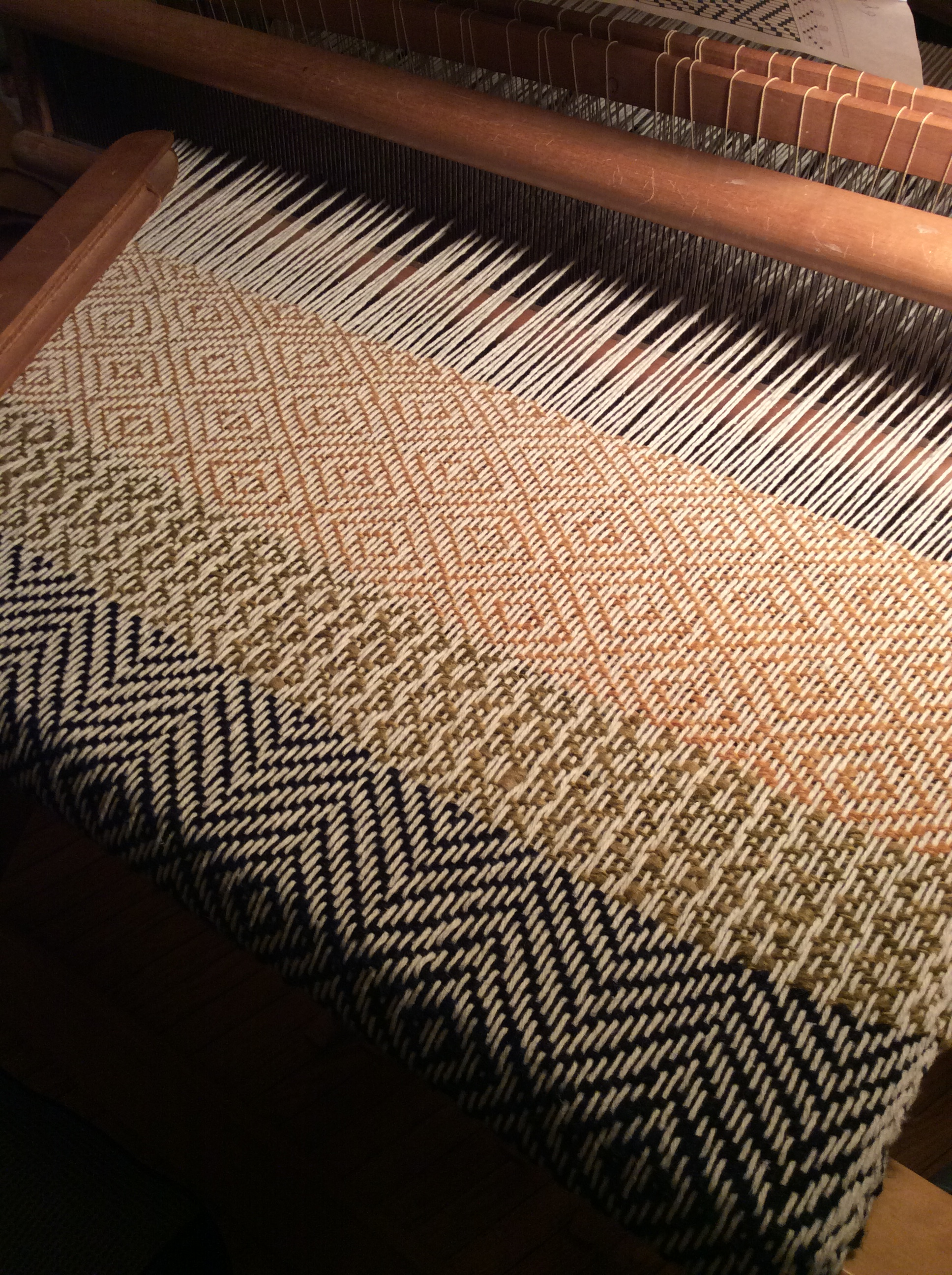Shawland Weaving Diamond Pattern On Four Shaft Loom